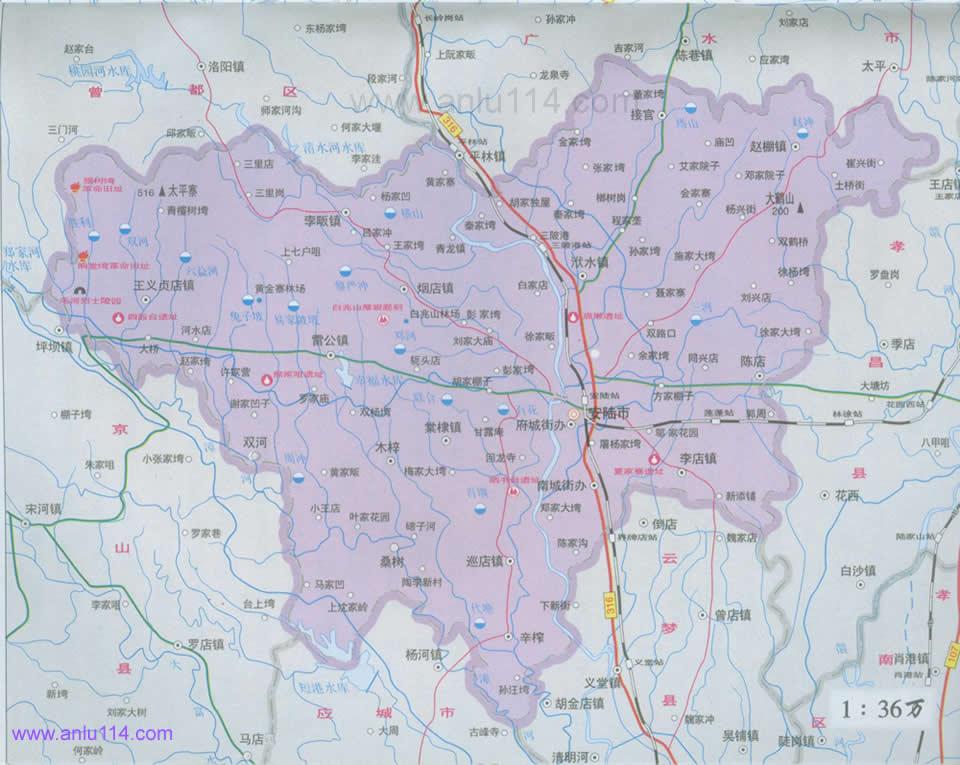 安陆全市地图